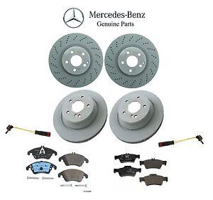 For Mercedes Front Vented Drilled Disc Brake Rotors & Pads+Sensors Kit Genuine