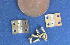 2 Brass Hinges & Screws Dolls House Miniature 1:12 Accessories 1cm x 0.8cm S 346