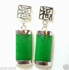 Vintage Natural Green Jade Silver Fortune Lucky Earrings