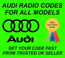 AUDI CAR RADIO UNLOCK PIN CODE - ALL MODELS - FAST SERVICE