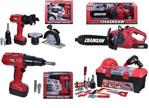 Kids Pretend Play Tool Box Set Drill Chainsaw Boys Workshop Construction Toy