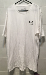 Under Armour Men's T-Shirt Short Sleeve Logo Front And Back White Size XL
