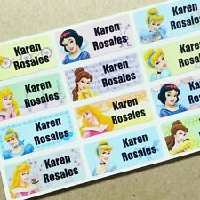 40 Disney Princesses Waterproof Name Stickers Labels Snow White Sleeping Beauty