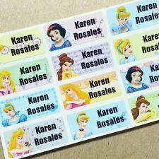 40 Disney Princesses Waterproof Name Stickers Labels Snow White Sleeping Beauty
