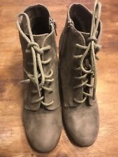 Not Rated Lace Booties Boots Neutral Taupe Sz 8.5