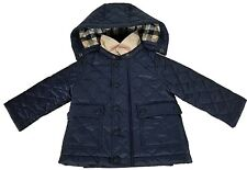 BURBERRY Baby Check Detail Diamond-quilted Jacket Ink Blue Size 9 Months