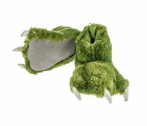 XL Clawed Olive Green Plush Fuzzy Oversized Warm Adult Dinosaur NonSkid Slippers