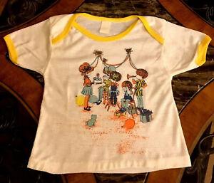 Vintage Girls Pajama Top 1980s Thermal Sleep Shirt Short Sleeve Graphics 6 / 7