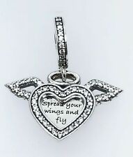 Genuine Sterling Silver PANDORA Heart and Angel Wings Charm Pendant 798485 ALE