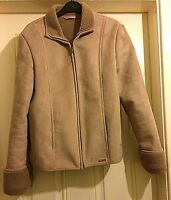 Ladies Beige Suede Feel Next Zip Up Winter Jacket Size 12 B10