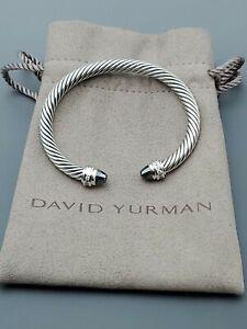 David Yurman 5mm Cable Classic Hematite and Diamonds Cable Cuff Bracelet sz M.