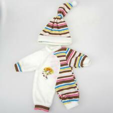 10-14 Inches Dolls Clothes Pajamas Hat + Rompers (Coffee Stripes) Set of 2