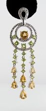 Vintage Chandelier Earrings 10 CTW Genuine Citrine Peridot Rhodium Over 925 SS