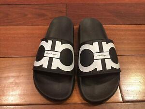 Salvatore Ferragamo Black Groove Gancini Pool Side Sandals Size 10M