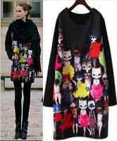 MH Style Women's Ladies Top Jumper / Dress Printed Loose Long Sleeve Plus Size
