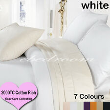 New Double 2000TC Cotton CVC Easy Care Quilt Cover&Pillowcases White-RRP$427