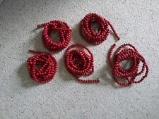 Vintage Red Cranberry Wood Wooden Bead Christmas Tree Garland 5 Strands @ 9'