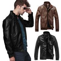 Retro Homme Motard Moto Biker Vest en Cuir Nouveau Biker Coat Noir M-3XL Jacket