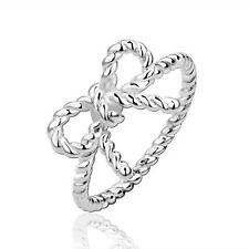 Silver Plated Butterfly Knot Ring Simple Bow Knot Ring Dress Accessories SS