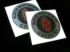RUDGE WHITWORTH Silver Vintage Classic Car Helmet Motorcycle Stickers 2 off 80mm
