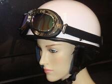 Halbschale + Brille für DDR Moped Weiß Größe  XL Oldtimer Helm
