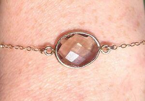 14K Gold-filled Chain/Vermeil Framed Smokey Quartz Stone pendant Necklace/Choker