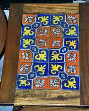 Fine Antique All Original Unretouched 1920s Hispano Moresque Colorful Tile Table