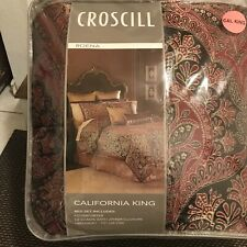 Croscill ROENA Burgundy California King Comforter Set 4 ~New~