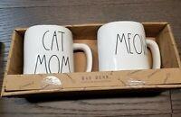 Rae Dunn Cat Mom & Meow White Coffee Tea Mug New Set of 2 Artisan Collection.