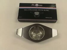 TEA STRAINER WITH BOWL DRIP BOWL STAINLESS STEEL INFUSER MESH SCREEN DOUBLE