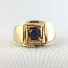 Vintage Garnet Men's Ring #1, Round Cut 5 mm, 14K Gold Plated