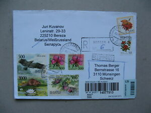 BELARUS, R-cover to Switzerland 2005, eagle beaver butterfly flowers