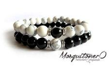 Bracciali coppia con perle,stone pietra nero e bianco bracelet couple beads
