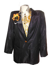 ESCADA Virgin Wool Shiny Formal Wedding Suit Tailcoat Blazer Jacket sz 14 L X70