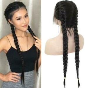 Synthetic Braids Lace Front Wig Hair Long Black Double Braided  Wigs