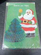 Vintage Dennison Santa Die Cut Honeycomb Tree Centerpiece Decoration!  NIP!  NOS