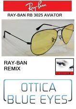 Occhiale Sole RAYBAN RB3025 AVIATOR REMIX GUNMETAL YELLOW AMBERMATIC Sunglasses