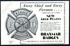 1930 Braxmar Badges Birmingham fireman badge art vintage trade print ad