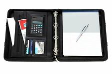 Executive A4 Faux Leather Ring Binder Conference Folder with Handles + free pen