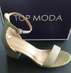 Top Moda Darcie Ankle Strap Sandal Champagne Women's Size 5.5 MSRP $48