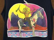 Indian On Horse Medium Tank Top Graphic Shirt Vintage Native American Blue