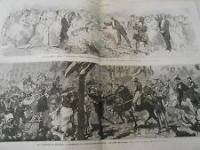Gravure 1874 - Théatre à Madrid Place des Taureaux