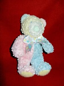 """First & Main Nubby Baby Bear Rattle Teddy Bear Plush Toy Pastel Pink Blue 8"""""""
