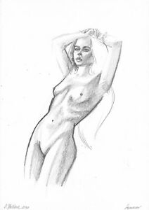 original drawing A3 57OJ art samovar female nude Graphite Signed 2020