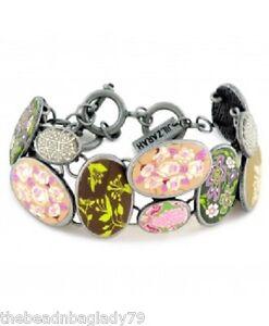 NEW JILZARA Handmade Clay Bead PRAIRIE PINK GREEN COBBLESTONE TOGGLE Bracelet