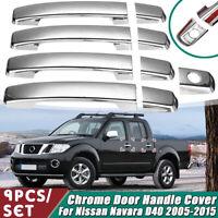 9 Pcs/Set Chrome Door Handle Cover Trim Outer ABS For Nissan Navara D40 2005-15