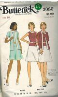 3080 Vintage Butterick Sewing Pattern Misses Fitted Sleeveless Dress Jacket 18