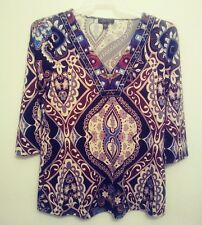 Melissa Paige Womens Top Size M Boho Embroidered V Neck