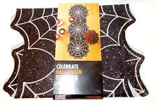 Kohls Celebrate Halloween Black Spiderweb Spider webs Glitter Table Runner 13x3