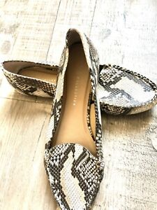 M&S Collection Ladies Snakeskin Loafers - Flat Faux Leather Pumps - Sz8 UK VGC